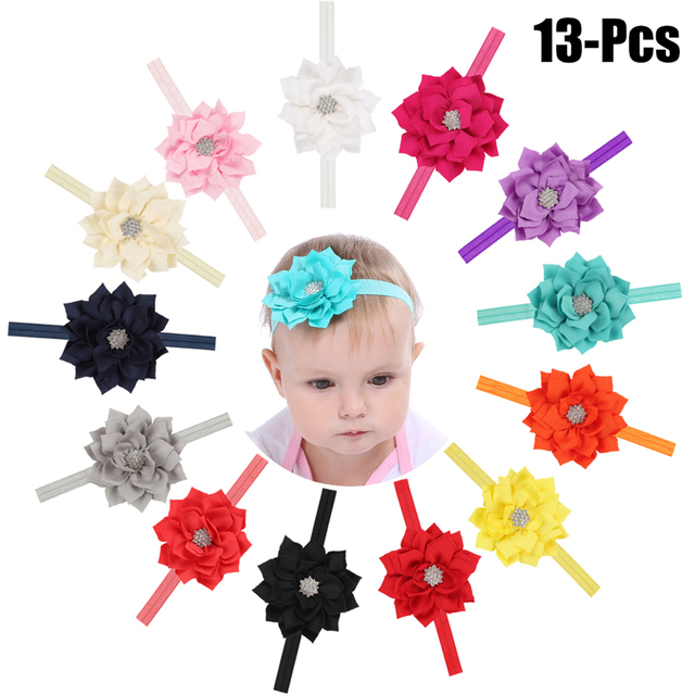 f94f3f0d291b 13PCS Baby S Hairband Rhinestone Lotus Elastic Baby Headband Infant  Headwrap For Baby Girl Toddler