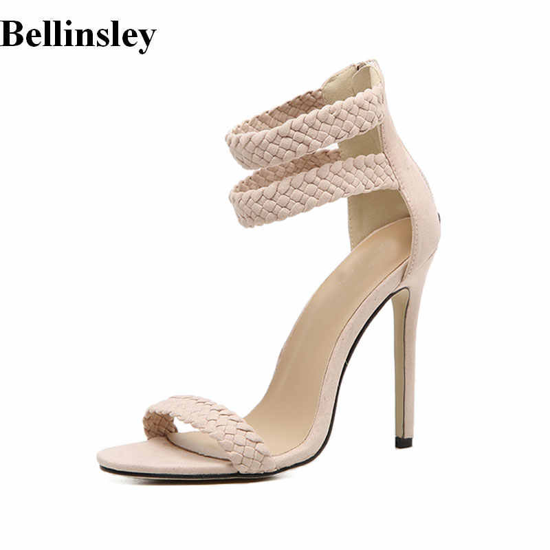 f5d16a3b594 Summer Women Shoes Thin Heel Gladiator Sandals Peep Toe High Heels Women Shoes  Ankle Strap Female