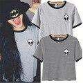 2 Colores Nueva Blusa Entallada Camiseta de Las Mujeres Exóticas ET de Impresión Copped Top Camiseta de Las Mujeres Tops Moda Camiseta Femme Envío Gratis