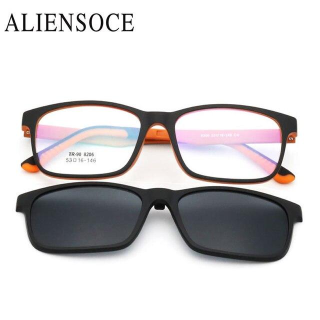 572574f7b3 ALIENSOCE Cadre lunettes de Soleil Clip Magnétique Myopie Polarisée  Conduite Lunettes lunettes de Soleil Polarisées Clip