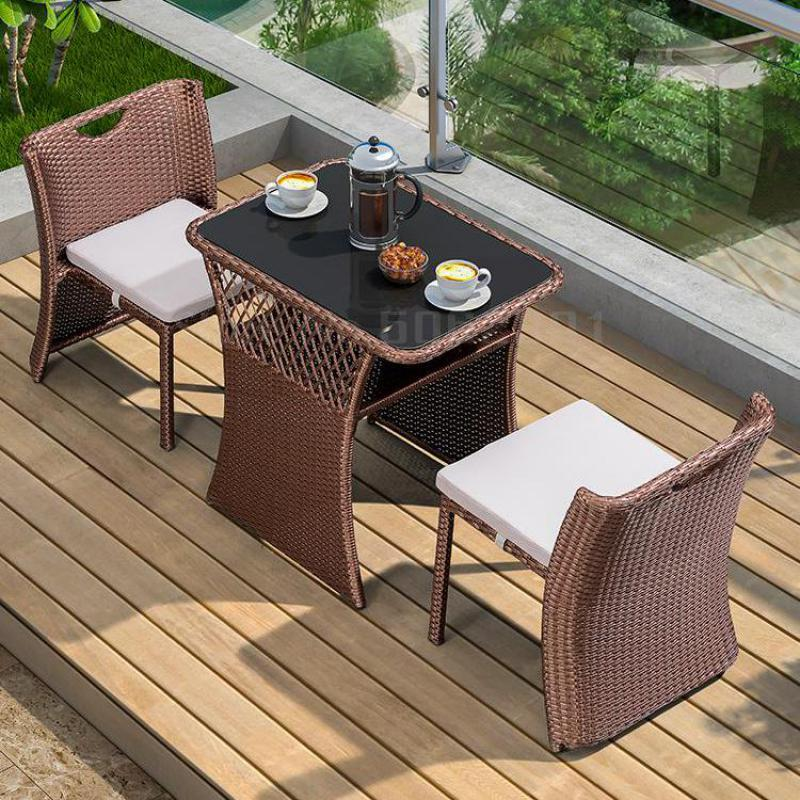Balcony small table and chair wicker chair three-piece outdoor table and chair combination simple rattan leisure coffee table
