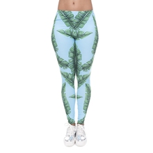 52aa04c6bea JVNENGPOPO Jungle Leaves Printed Leggings for Women Sexy Skinny Pants  Ladies Sporting