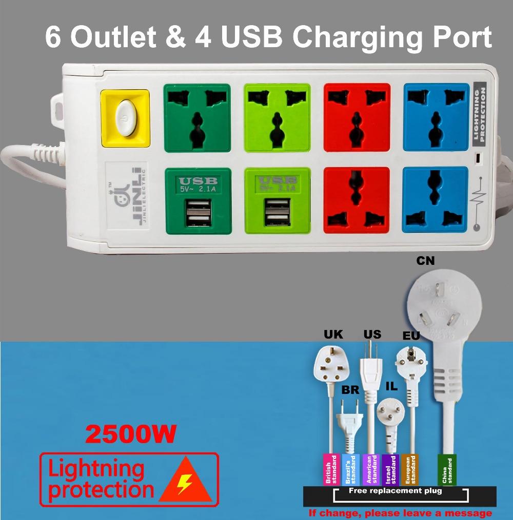 multi USB charger Lightning protection system Socket with EU UK US type аксессуар usams u shine series us sj181 usb lightning 1 2m blue