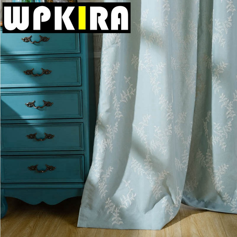 Solid Cloth Semi Shade Blackout Window Curtains Bedroom White Tulle Modern  Living Room Curtains Blue Kitchen