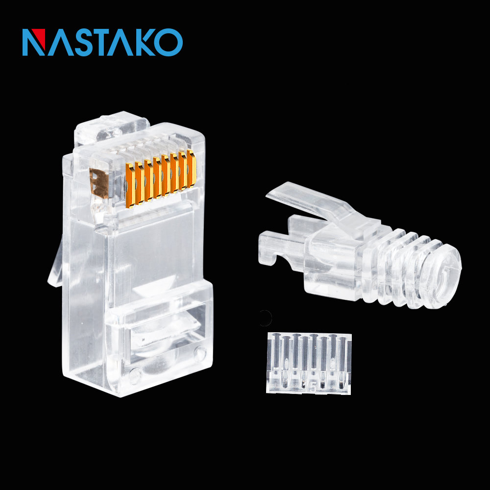 NASTAKO 50/100pcs Cat6 RJ45 connector UTP cable ethernet Jack 8P8C Network CAT 6 Modular Plugs with 6.5mm RJ45 Boots