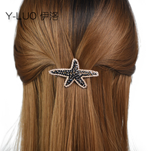 Women headwears cute sea star hair clip for girls vintage barrettes rhinestone hairpin bow accessories women