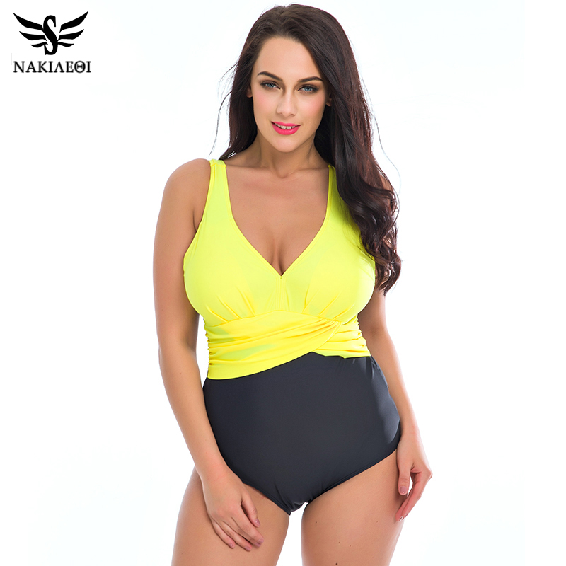 NAKIAEOI Plus Size Swimwear Women One Piece Swimsuit 2018 Hot Swim Bodysuit Badpak Beachwear Retro Vintage Bathing Suit Wear 4XL 1