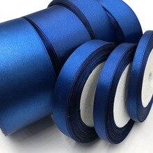 25 ярдов D-Blue шелковая атласная лента для украшения свадебной вечеринки подарочная упаковка Рождественская Новогодняя одежда тканевая лента для шитья 38