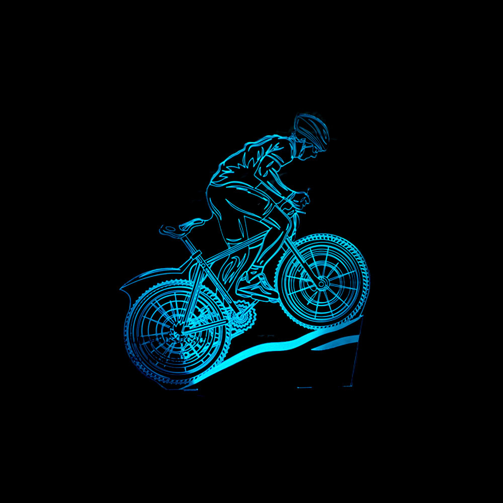 USB LED 3D MTB Mountain Bike Table Lamp Bedroom Bedside Sleep Light Fixture 7 Colors Athlete Sport Lover Night Light Decor Gifts