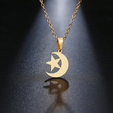 DOTIFI Stainless Steel Necklace For Women Lover's Gold And Silver Color Moon & Star Pendant Necklace Engagement Jewelry(China)