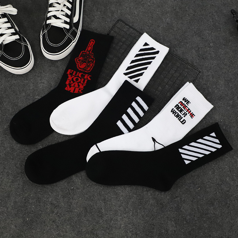 2018 New High Quality Harajuku chaussette L Style Socks For Mens Cotton Hip Hop Socks Man Meias Mens Calcetines