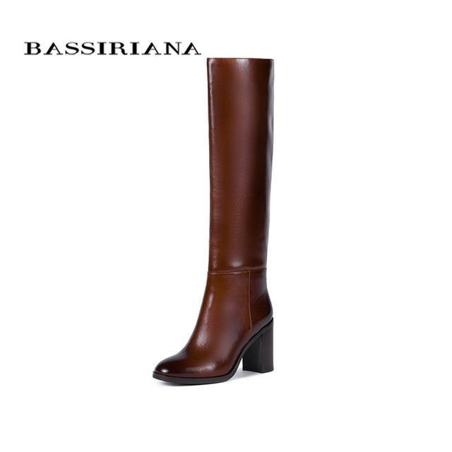 BASSIRIANA/Новинка 2017 г. высокие сапоги из натуральной кожи, женская зимняя пикантная обувь на высоком каблуке, с круглым носком, на молнии, черного и коричневого цвета, размеры 35-40