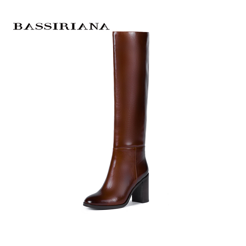 BASSIRIANA New 2017 genuine leather high boots shoes woman winter sexy high heels round toe zip black brown 35 40 size
