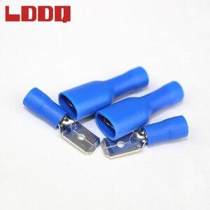 LDDQ Spade złącze zaciskowe zestaw męski i żeński 50 para niebieski faston 16-14AWG złącze przewodu złącze zaciskowe s kabelschoenen borne