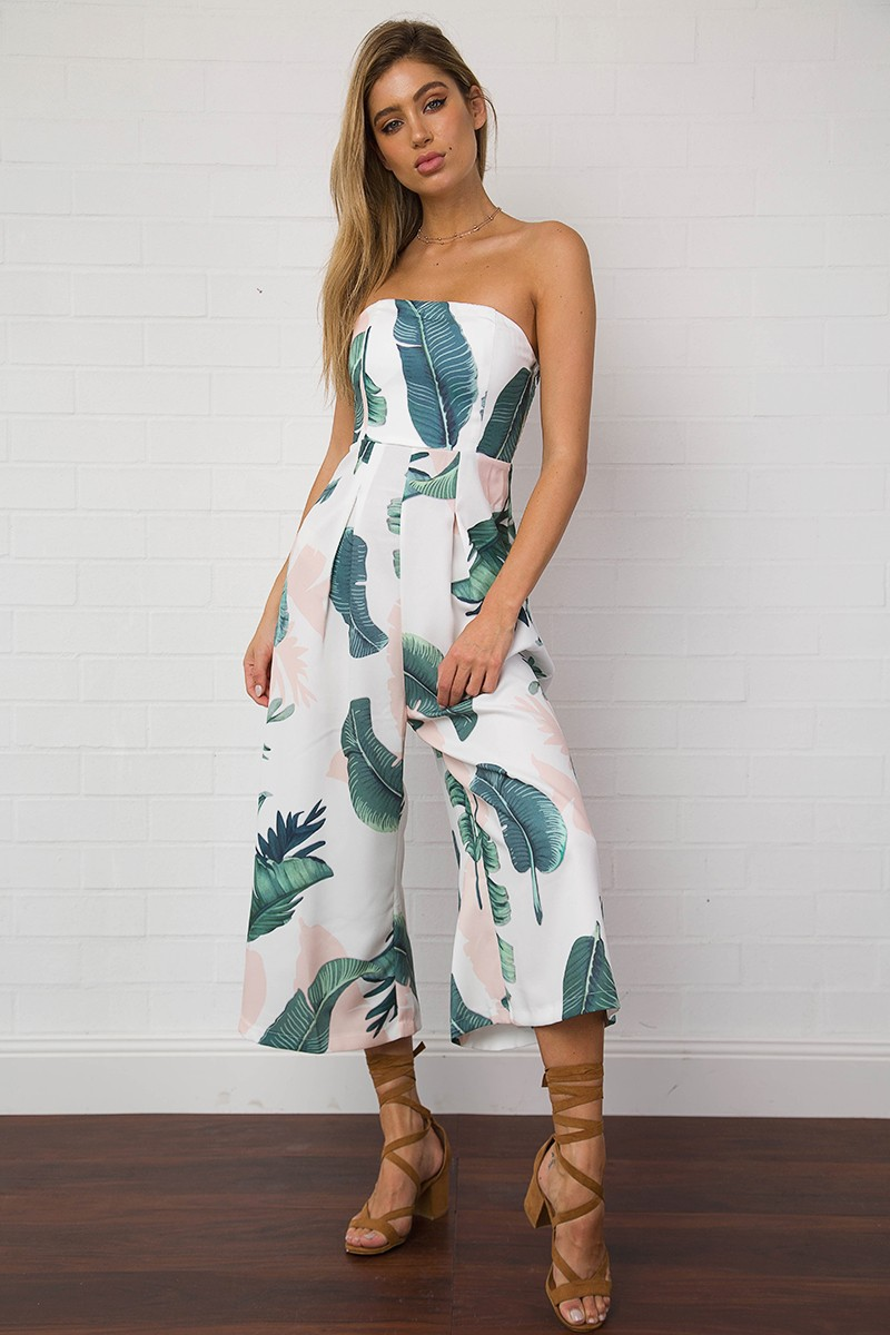 2017 Summer Floral Print Elastic Waist Short Jumpsuit -8076
