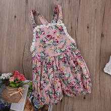2016 Baby 0-24M Girls Romper Toddle Kids Clothes Floral Rompers Overall Summer Newborn Baby Clothing