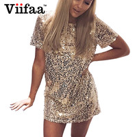 Viifaa Sequins Gold Dress 2017 Summer Women Sexy Short T Shirt Dress Evening Party Elegant Club