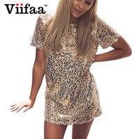 Viifaa Sequins Gold Dress 2017 Summer Women Sexy Short T Shirt Dress Evening Party Elegant Club