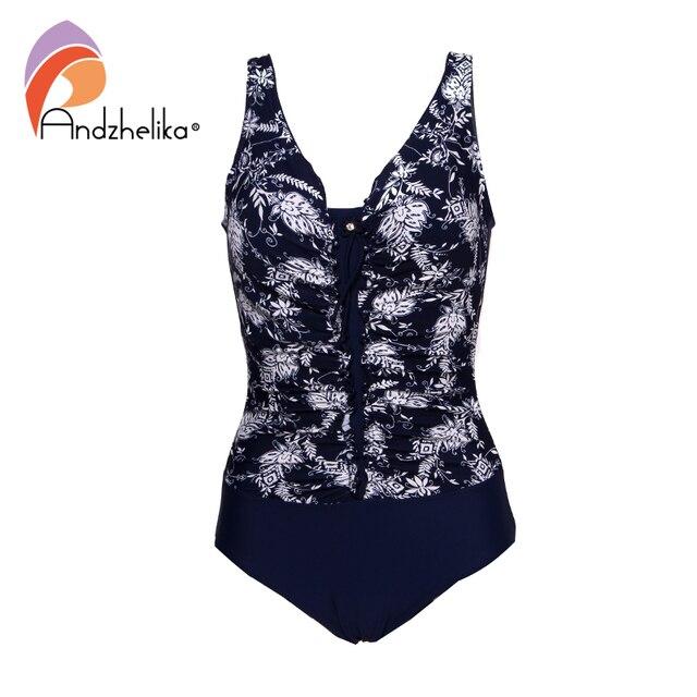 Andzhelika 2020 New Women Plus Size Swimsuit Print One Piece Swimwear Fold Bodysuit Bathing Suit Brazilian Summer Beach Monokini