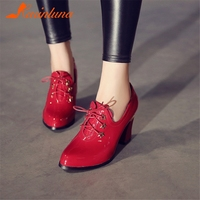 KARINLUNA 2019 Brand New Plus Size 32 48 Lace Up Patent Pu Leather High Heels Shoes Woman Casual Ol Spring Autumn Pumps