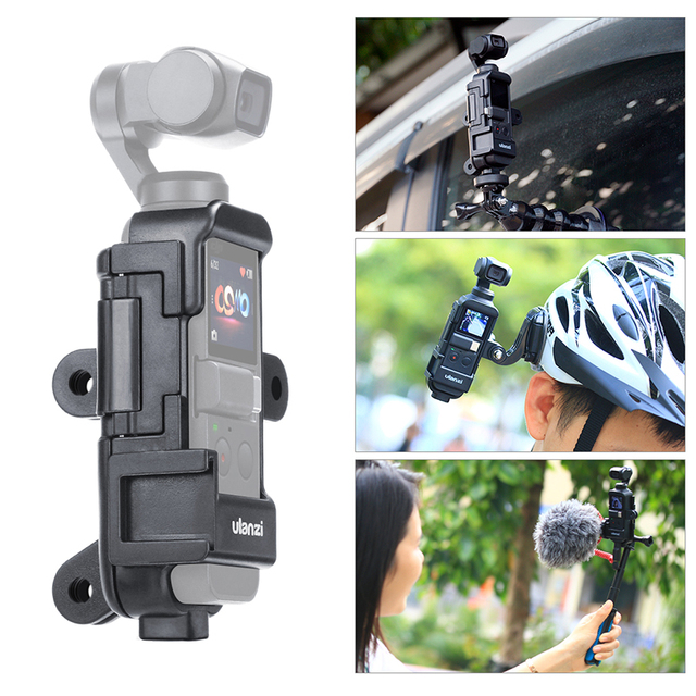 ULANZI OP 7 Vlog Extended Housing Case for DJI Osmo Pocket , Cage w Microphone Cold Shoe 3 GoPro Adapter for Motovlog helmet