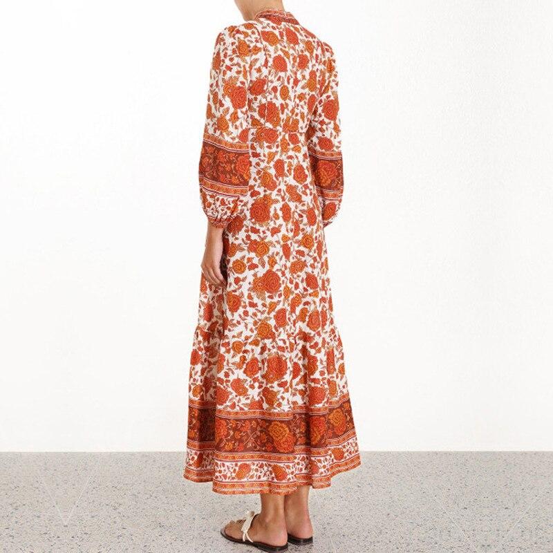 2019 รันเวย์ Designer Vintage พิมพ์ Maxi ชุดผู้หญิงสูงเอวแขนยาว Holiday Party Beach ชุดยาว Vestidos-ใน ชุดเดรส จาก เสื้อผ้าสตรี บน   3