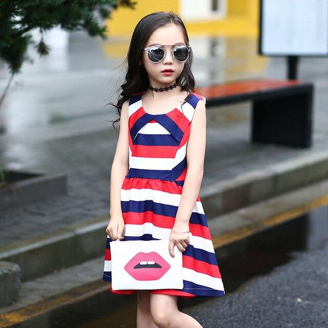 d43a20c48d5851 5-14 alter Mädchen Kleider Sommer 2016 Kinder Kleidung Mode Marke  Regenbogenstreifen Prinzessin Weste Kleider