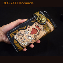 OLG.YAT Handmade men wallets skull handbag long hasp purse mens bag Vegetable tanned leather wallet Cowhide with Snakeskin pure