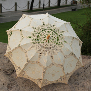 Image 4 - Outdoor Sun Protection Wedding Embrodiery Lace Parasol and Fan Set Party Guest Gifts