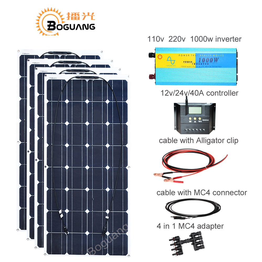 Boguang 400w solar DIY kit system 100w solar panel cell 110v 220v 1000w inverter 40A controller cable MC4 connector 12v battery boguang 300w solar panel 3 100w 30a controller 110v 220v 500w power inverter off grid 12 volt battery system 300 watt