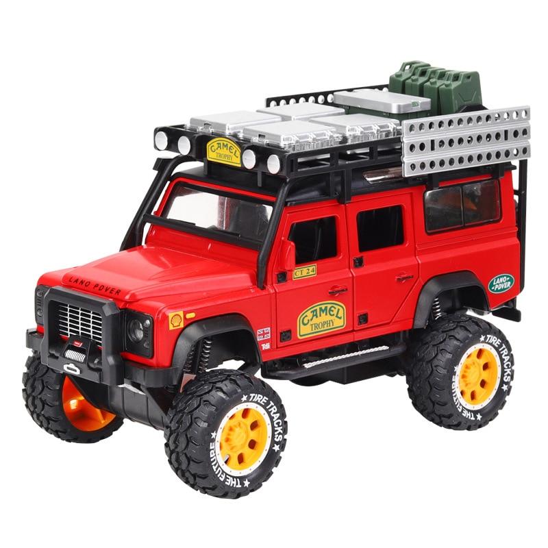 1:28 Diecast Metal Modelo de Carro de Brinquedo Liga Terras Rover Suv Carro Simulação de Som E Luz Puxar Para Trás Do Carro Do Carro de Metal brinquedos Para As Crianças Presentes