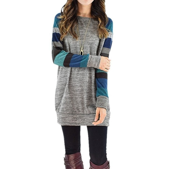 Casual Long Sleeve Striped Patchwork Tee Shirt