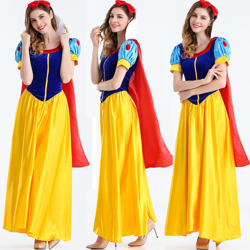 2018 New Halloween Costumes Women's Nightclub Anime Costumes Fairy Snow White Dress Adult Women's Stage Costume Game Set