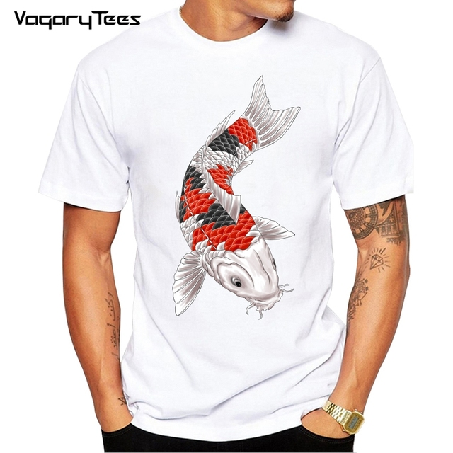 d4157861 Japan tattoo style Japanese Koi Carp fish T Shirts Women Men T-Shirt Male  Female Slim fit Unisex Short Sleeve teeshirt