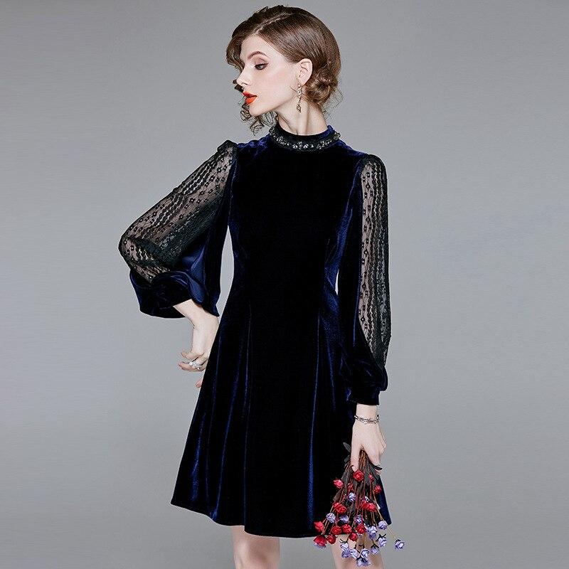 832147effd5f Della Primavera Del Velluto Abito Che Borda Da Di Vestito Sexy Fashion Blu  Navy Rappezzatura Progettista ...
