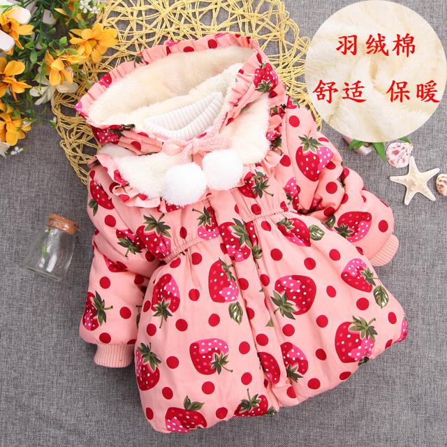 Niños libres del envío de invierno ropa femenina infantil chaqueta de algodón acolchado bebé wadded chaqueta de la flor de cerezo de espesamiento térmico
