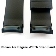 New Waterproof  22mm Curved End Strap Black Silicone / Rubber Radian Arc Degree Watch Parts Band