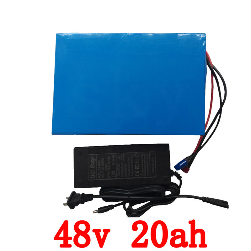 Big Capacity 48 Volt Batteries 48V 20Ah Li ion Battery for Electric Bike with PVC case Built in 13S 30A BMS + 2A CC/CV Charger e bike power battery 36v 30ah frog type li ion battery for 36v 350w 1000w electric bicycles with bms charger for samsung cell
