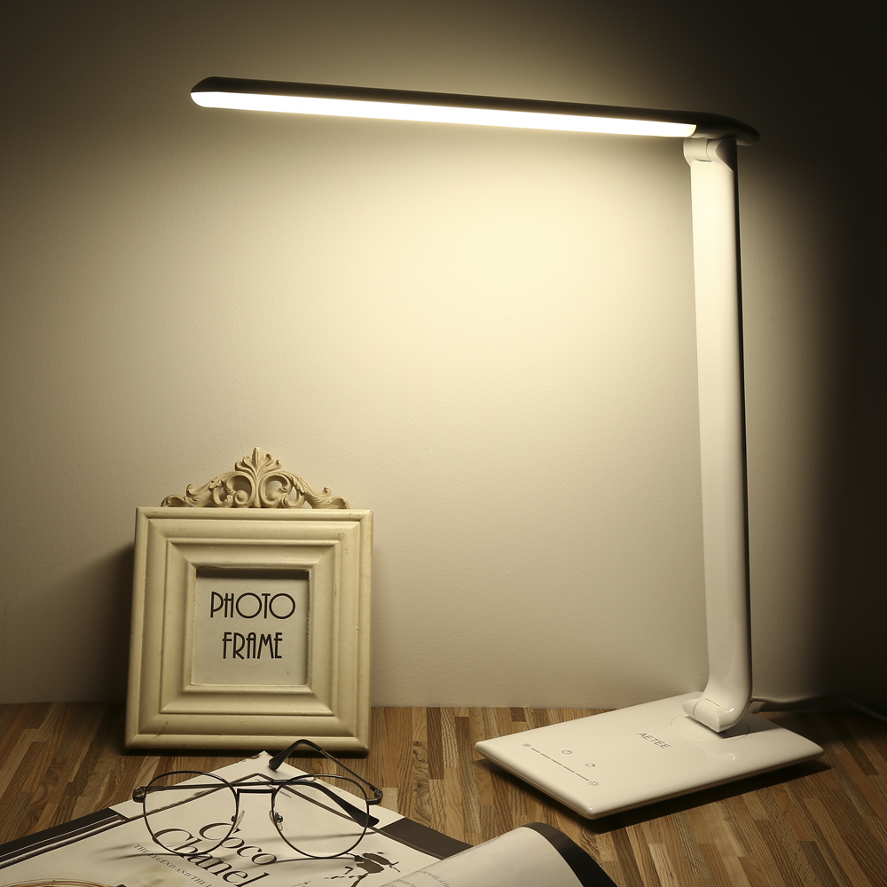 Conception de pliage LED Lampe de Bureau Lampe De Table Tactile Commutateur 7 Niveau Luminosité Gradation Lumière Très Sensible Tactile Gradateur Bureau Lumière