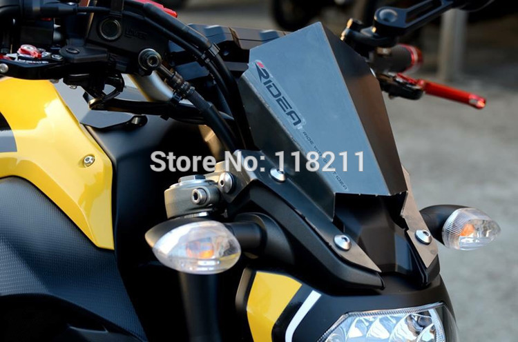 RPMMOTOR New Aluminum Motorcycle Motorbike Windshield Windscreen Black For Yamaha MT07 MT-07 2014 2014 2016 yomt motorcycle motorbike windshield smoke race screen for yamaha tmax530 2012 2014 2013 12 13 14 windscreen