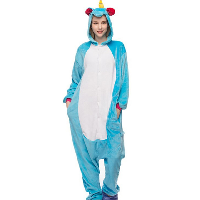 sleepwear women unicorns pajamas panda happy bears big gray wolves zebras and pengu and pajamas set flaneel hooded kigurumi