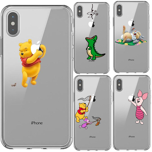 online retailer 7df5a 146dd US $0.83 40% OFF|Winnie pooh Piglet Bambi Clear Soft Silicone TPU Phone  Case Cover For iPhone X XS 5 5S SE 6 6SPlus XR XS MAX 7 7Plus 8 8 Plus-in  ...