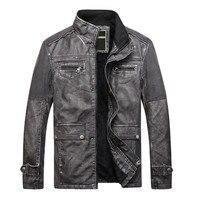 Mùa thu và mùa đông người đàn ông mới leather jacket Cộng Với xe máy nhung ấm men 's áo khoác retro bông coat PU leather Slim cổ áo