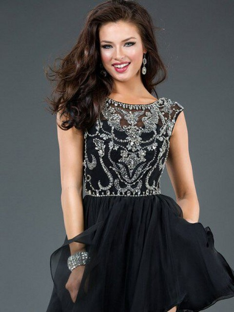 Short Black Homecoming Dresses Beautiful Design Cap Sleeve Teen Mini Dress  vestido 15 anos curto Hot Sale d278f2874586