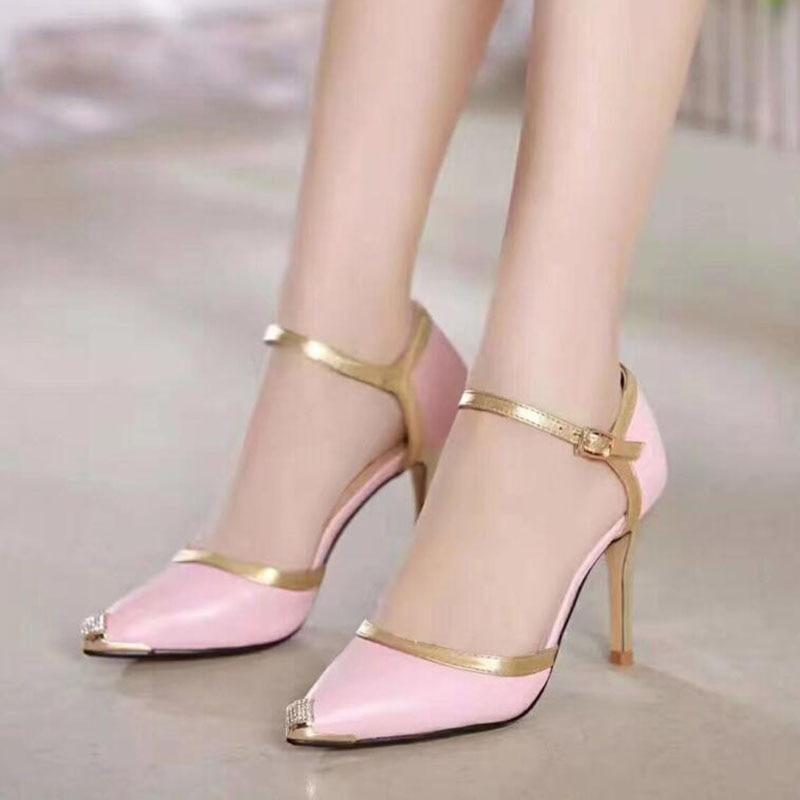 Pink High Heels For Wedding: New Brand Pink High Heels Women Genuine Nutural Leather