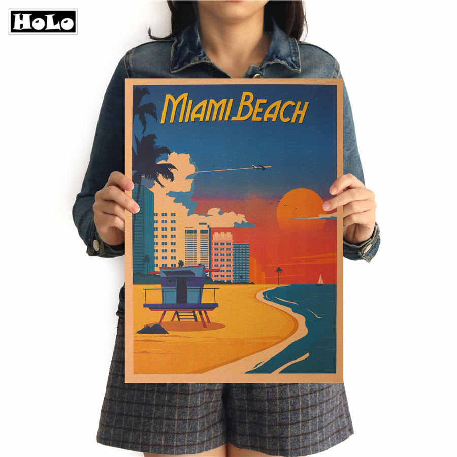 Miami Beach City Travel Wall Sticker Retro Poster vintage Poster Hanging Decorative Print Painting Classic Poster 42x30cm
