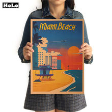 Miami Beach City Travel Wall Sticker Retro Poster vintage Poster Hanging Decorative Print Painting Classic Poster 42x30cm(China)