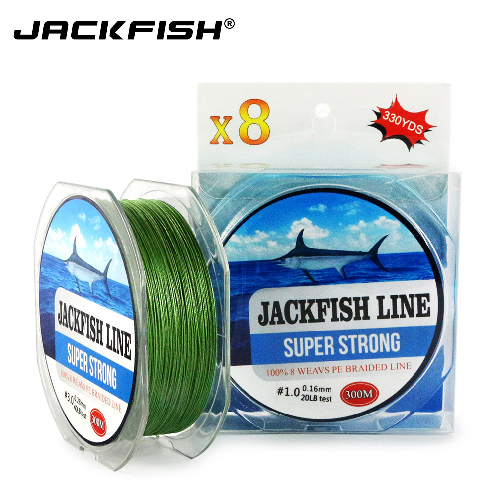 Jackfish 300m 8 strand super strong pe braided fishing for Best braided fishing line saltwater
