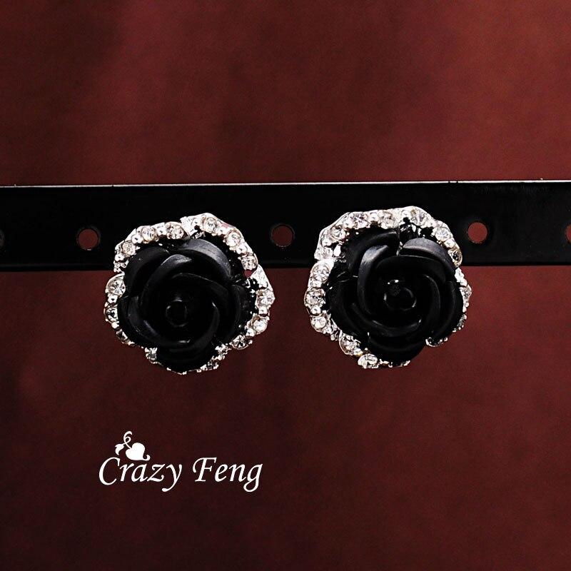 Free shipping Crazy Feng Korea Silver Color Pierced Stud Earrings Women Fashion Jewelry 6 Colors Trendy Wedding Flower Earrings