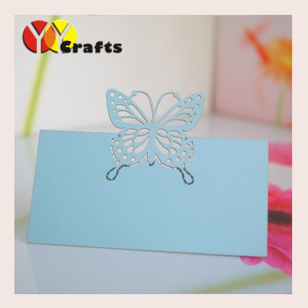 Beautiful blue Laser wedding card place card wedding Love butterfly Holder Table Seat Card for Wedding(China)